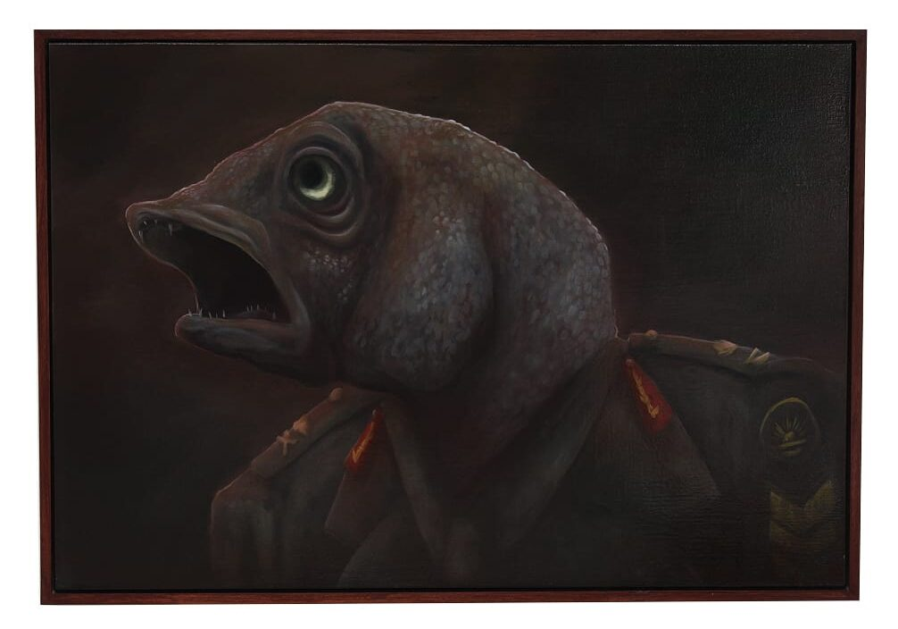 Stunned Mullet II 2013 Oils on canvas 121.3x84.3 cm Australian National Veterans Arts Museum Collection